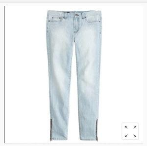 J. CREW toothpick ankle zip jeans
